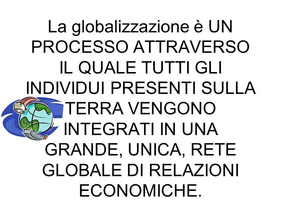 LA GLOBALIZZAZIONE La globalizzazione è UN PROCESSO ATTRAVERSO IL QUALE TUTTI GLI INDIVIDUI PRESENTI SULLA TERRA VENGONO INTEGRATI IN UNA GRANDE, UNIC