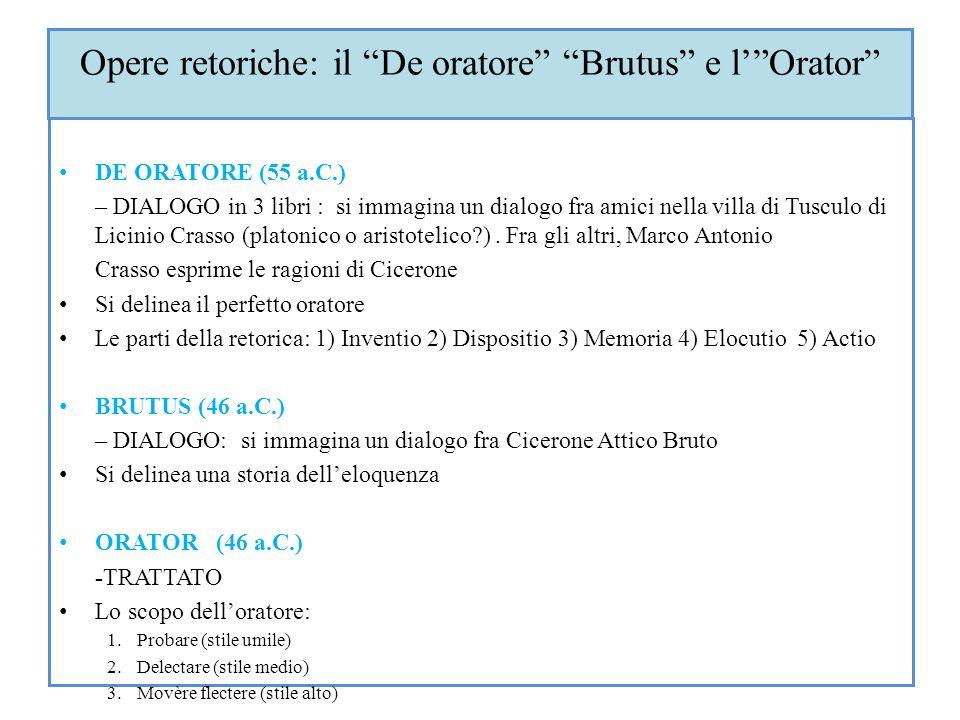 Opere retoriche: il De oratore Brutus e lOrator DE ORATORE (55 a.C.) – DIALOGO in 3 libri : si immagina un dialogo fra amici nella villa di Tusculo di