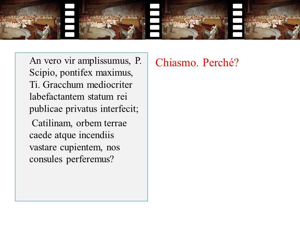 An vero vir amplissumus, P. Scipio, pontifex maximus, Ti. Gracchum mediocriter labefactantem statum rei publicae privatus interfecit; Catilinam, orbem