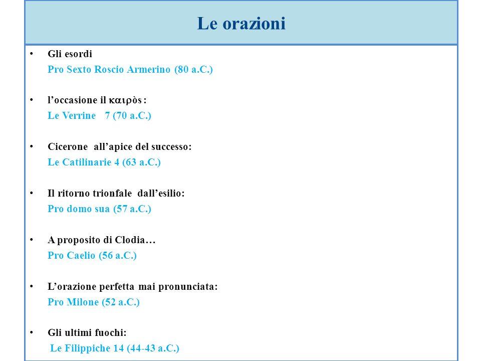 Le orazioni Gli esordi Pro Sexto Roscio Armerino (80 a.C.) loccasione il òs : Le Verrine 7 (70 a.C.) Cicerone allapice del successo: Le Catilinarie 4