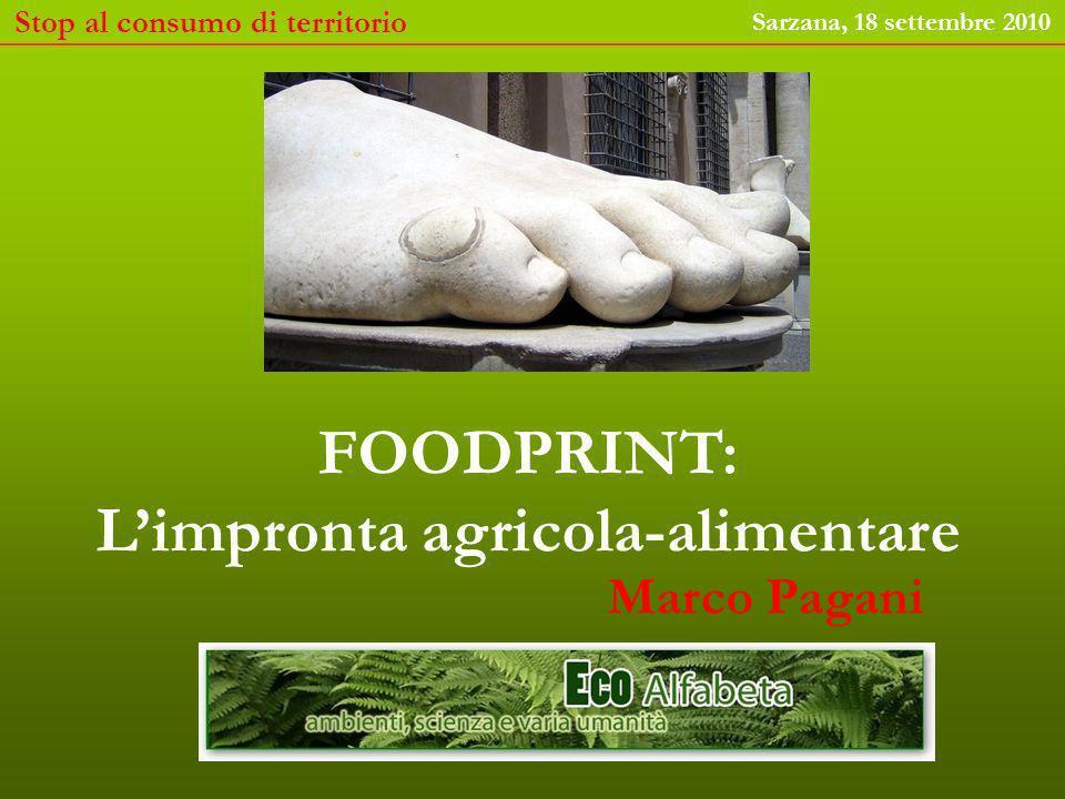 L impronta alimentare è l estensione media di terra coltivabile necessaria a sostenere i consumi alimentari diretti (prodotti vegetali) e indiretti (mangime per animali) di un essere umano.