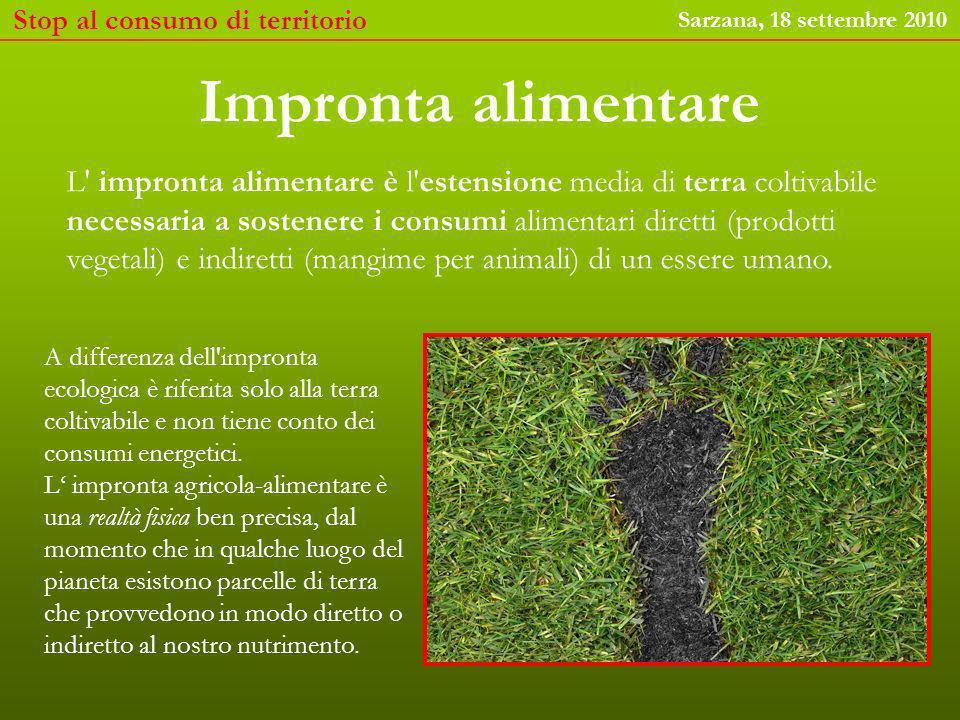 Stop al consumo di territorio Sarzana, 18 settembre 2010 Oltre il 90% del nostro nutrimento viene dalla terra In Italia nel 2007 i prodotti della terra hanno fornito, direttamente o indirettamente il 98% del consumo alimentare e il 94% delle proteine (FAOSTAT)