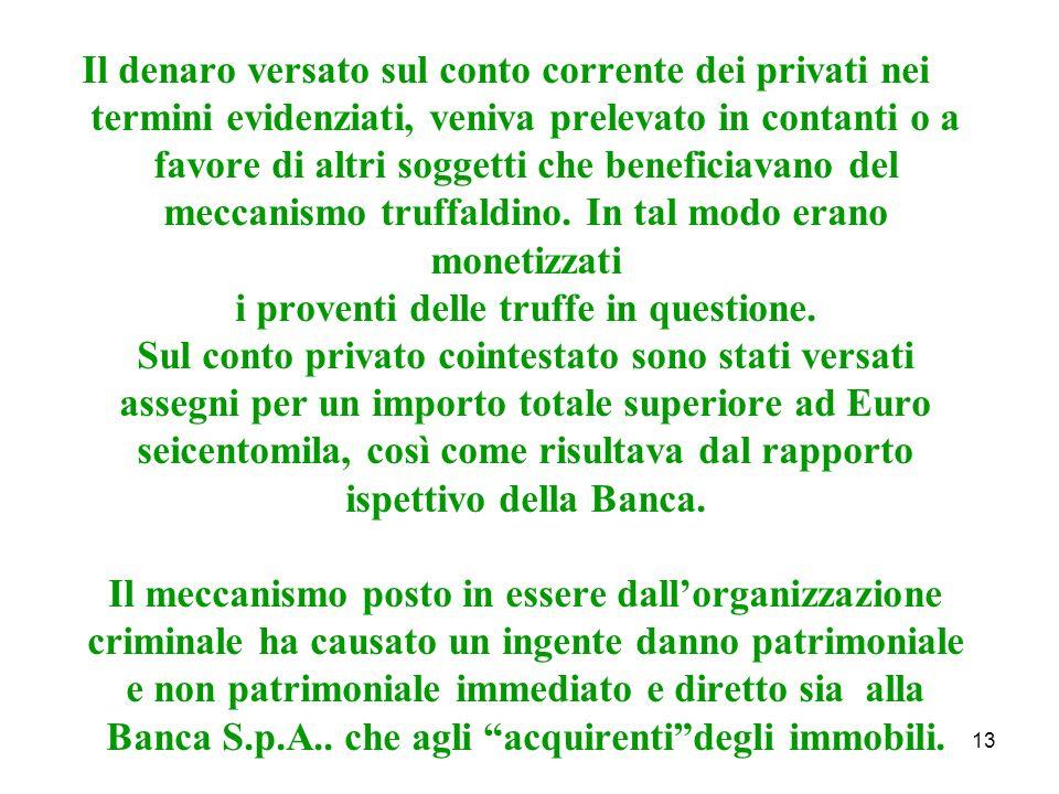 13 Il denaro versato sul conto corrente dei privati nei termini evidenziati, veniva prelevato in contanti o a favore di altri soggetti che beneficiavano del meccanismo truffaldino.