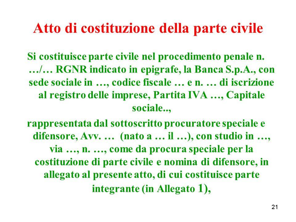 21 Atto di costituzione della parte civile Si costituisce parte civile nel procedimento penale n.