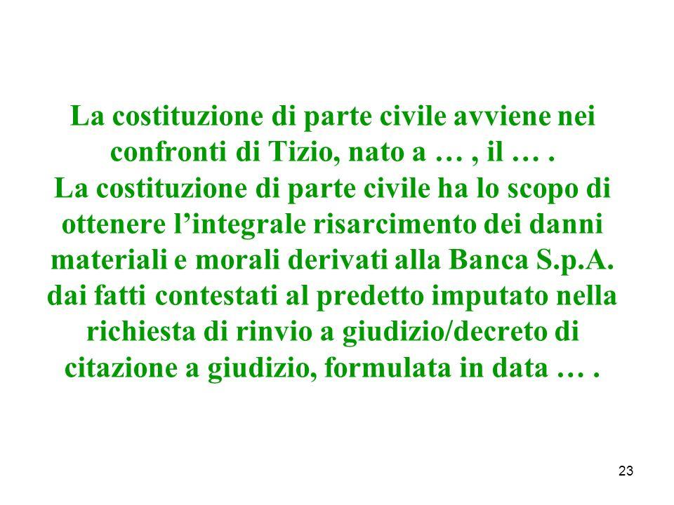 La costituzione di parte civile avviene nei confronti di Tizio, nato a …, il ….