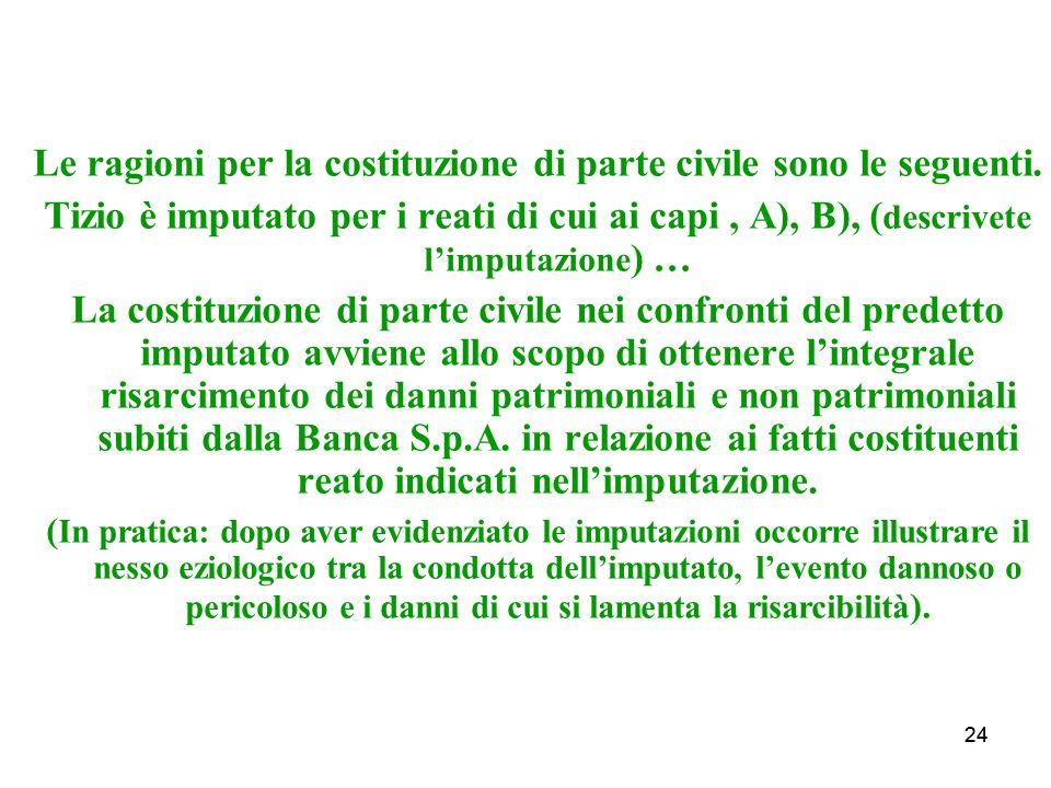 24 Le ragioni per la costituzione di parte civile sono le seguenti.