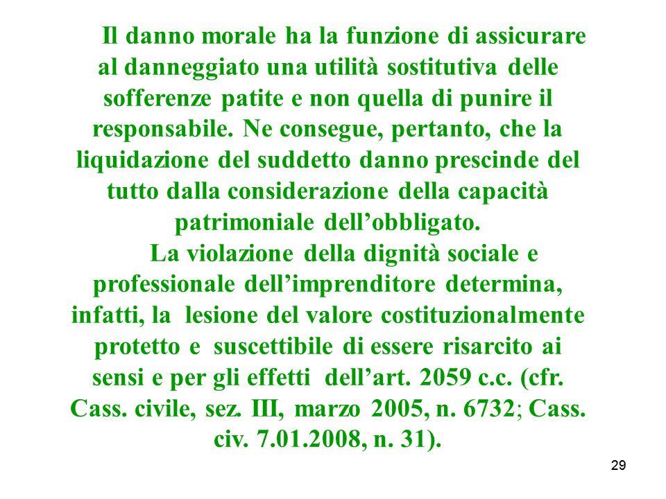 29 Il danno morale ha la funzione di assicurare al danneggiato una utilità sostitutiva delle sofferenze patite e non quella di punire il responsabile.