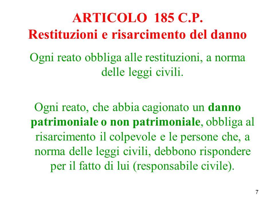 38 Ai fini della responsabilità civile ex at.2049 c.c.