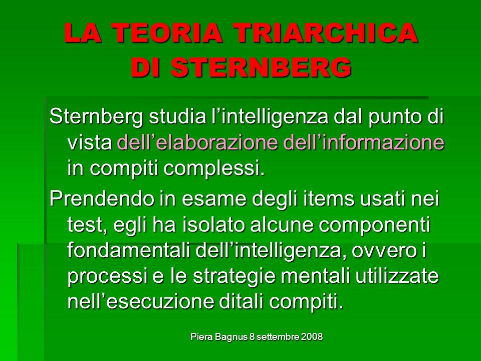 Piera Bagnus 8 settembre 2008 LA TEORIA TRIARCHICA DI STERNBERG Sternberg studia lintelligenza dal punto di vista dellelaborazione dellinformazione in compiti complessi.