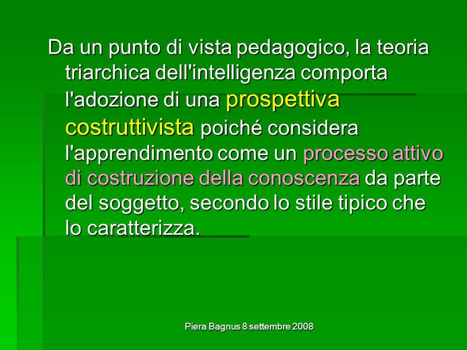 Piera Bagnus 8 settembre 2008 Da un punto di vista pedagogico, la teoria triarchica dell'intelligenza comporta l'adozione di una prospettiva costrutti