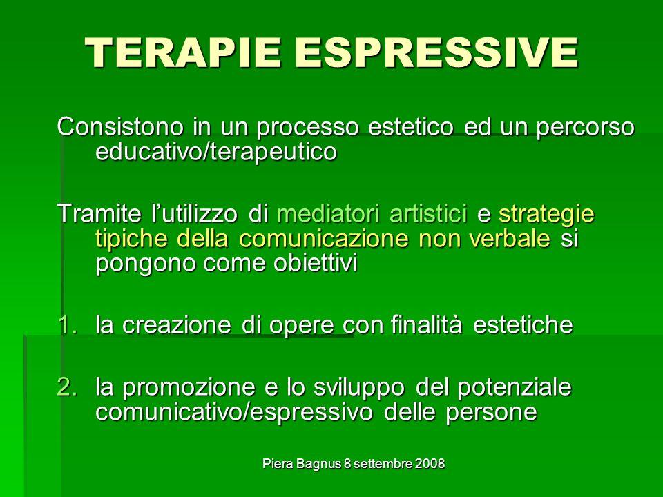 Piera Bagnus 8 settembre 2008 TERAPIE ESPRESSIVE Consistono in un processo estetico ed un percorso educativo/terapeutico Tramite lutilizzo di mediator