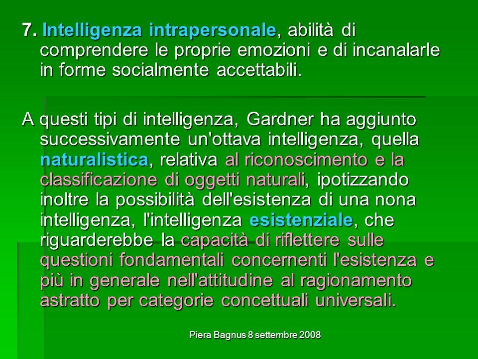 Piera Bagnus 8 settembre 2008 7. Intelligenza intrapersonale, abilità di comprendere le proprie emozioni e di incanalarle in forme socialmente accetta