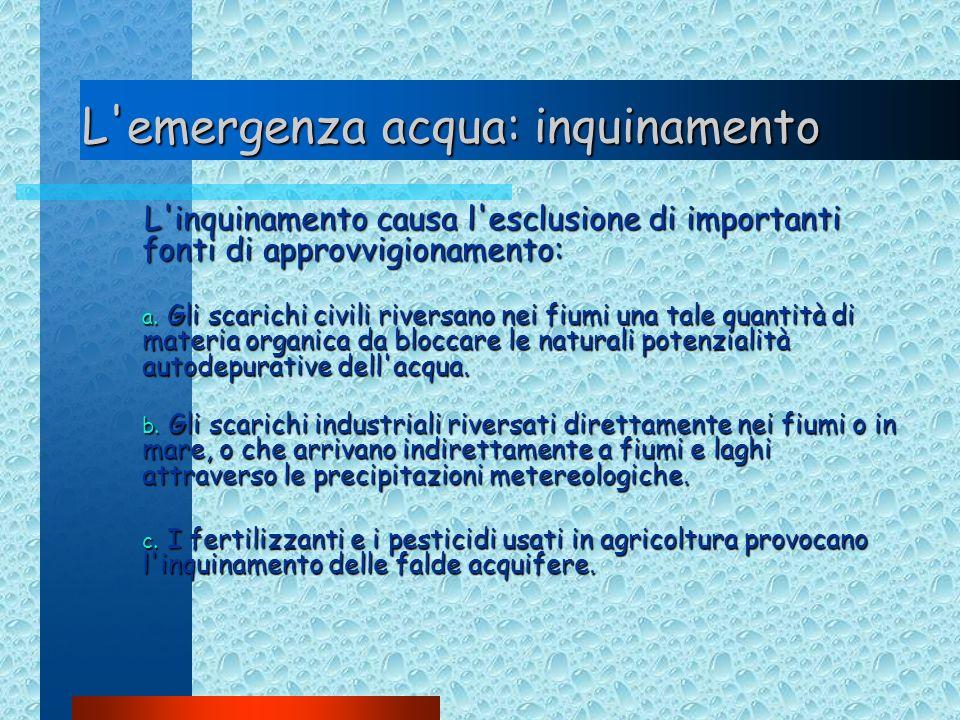 L'emergenza acqua: inquinamento L'inquinamento causa l'esclusione di importanti fonti di approvvigionamento: a. Gli scarichi civili riversano nei fium