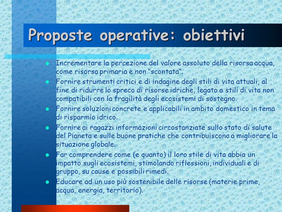Proposte operative: obiettivi Incrementare la percezione del valore assoluto della risorsa acqua, come risorsa primaria e non scontata. Fornire strume