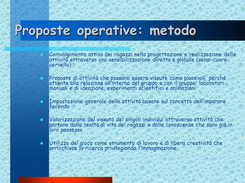 Proposte operative: metodo Coinvolgimento attivo dei ragazzi nella progettazione e realizzazione delle attività attraverso una sensibilizzazione diret