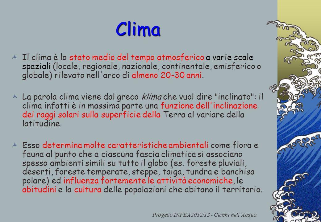 Clima Il clima è lo stato medio del tempo atmosferico a varie scale spaziali (locale, regionale, nazionale, continentale, emisferico o globale) rileva