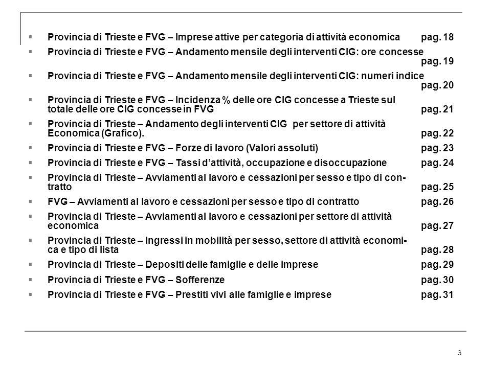3 Provincia di Trieste e FVG – Imprese attive per categoria di attività economica pag. 18 Provincia di Trieste e FVG – Andamento mensile degli interve