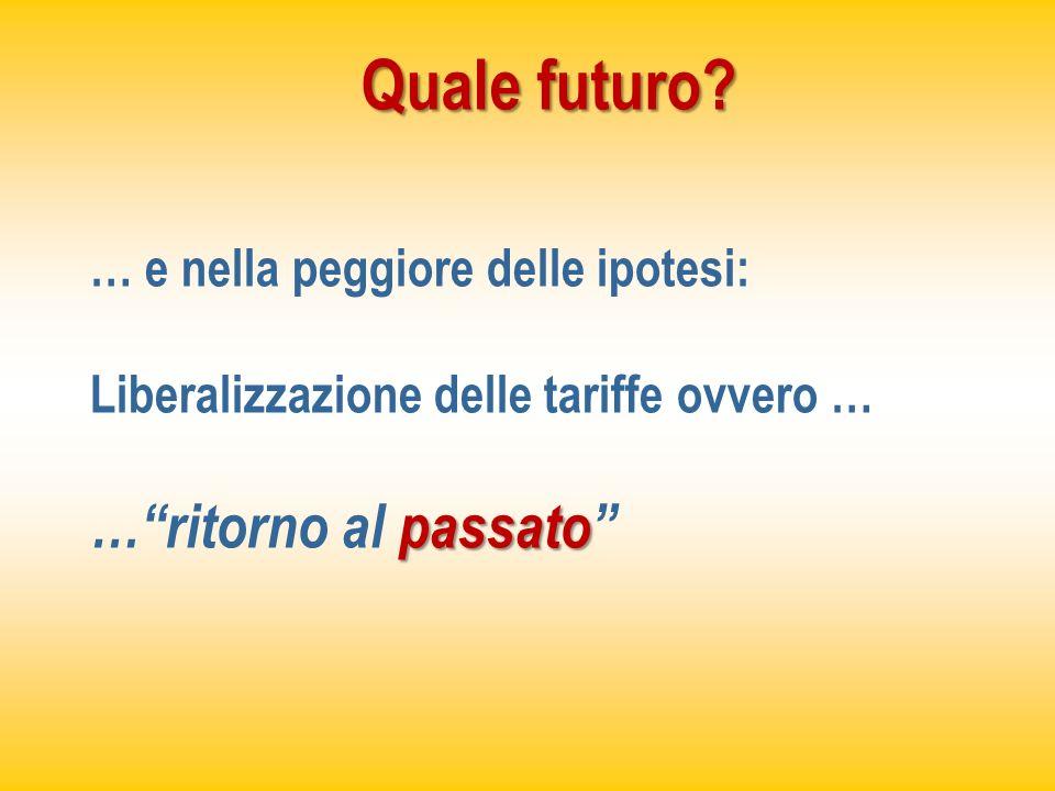 Quale futuro? … e nella peggiore delle ipotesi: Liberalizzazione delle tariffe ovvero … passato …ritorno al passato