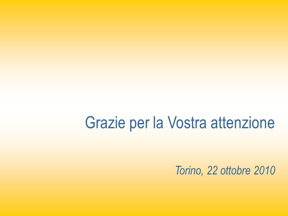 Grazie per la Vostra attenzione Torino, 22 ottobre 2010
