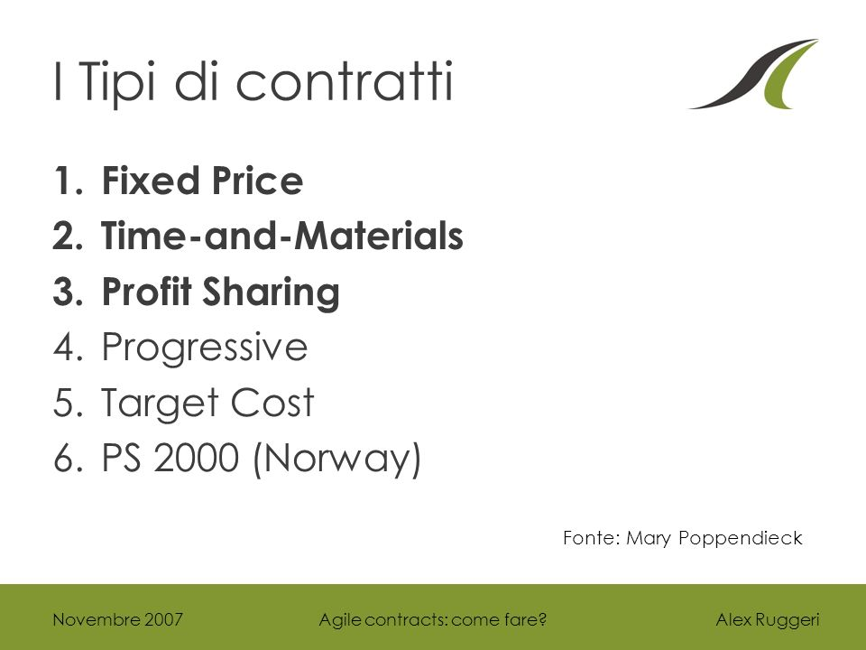 Alex Ruggeri I Tipi di contratti 1.Fixed Price 2.Time-and-Materials 3.Profit Sharing 4.Progressive 5.Target Cost 6.PS 2000 (Norway) Novembre 2007Agile contracts: come fare.