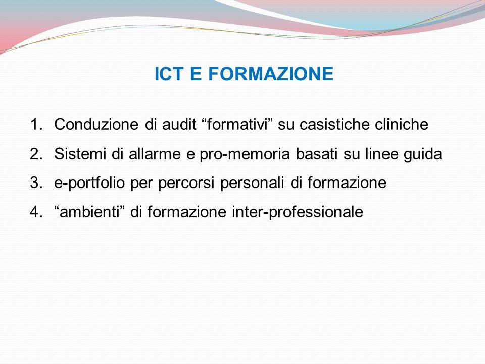 ICT E FORMAZIONE 1.Conduzione di audit formativi su casistiche cliniche 2.Sistemi di allarme e pro-memoria basati su linee guida 3.e-portfolio per per