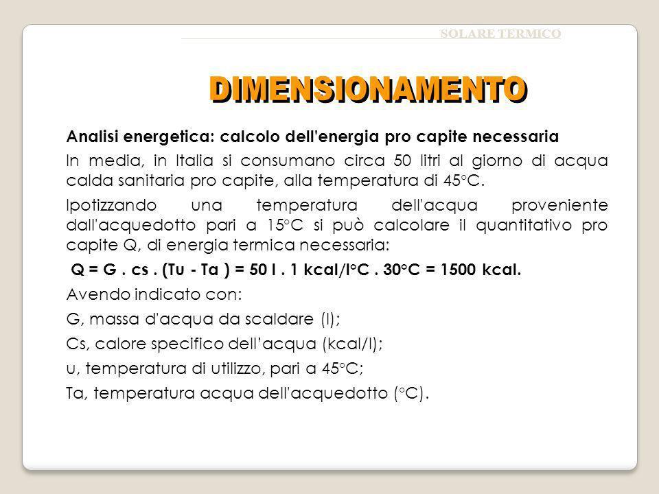 SOLARE TERMICO Analisi energetica: calcolo dell energia pro capite necessaria In media, in Italia si consumano circa 50 litri al giorno di acqua calda sanitaria pro capite, alla temperatura di 45°C.