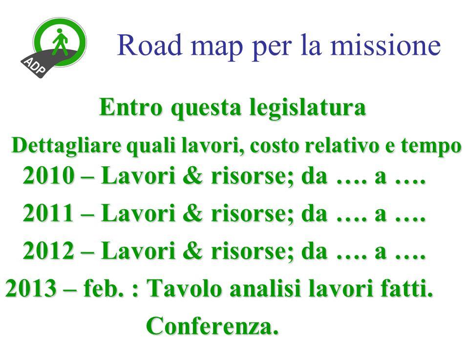 Road map per la missione Entro questa legislatura Dettagliare quali lavori, costo relativo e tempo 2010 – Lavori & risorse; da ….