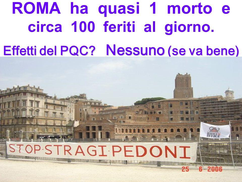 Effetti del PQC.Nessuno (se va bene) ROMA ha quasi 1 morto e circa 100 feriti al giorno.