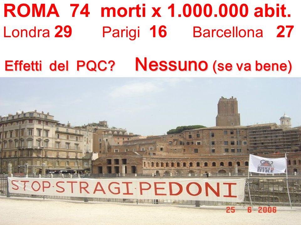 Effetti del PQC.Nessuno (se va bene) ROMA 74 morti x 1.000.000 abit.
