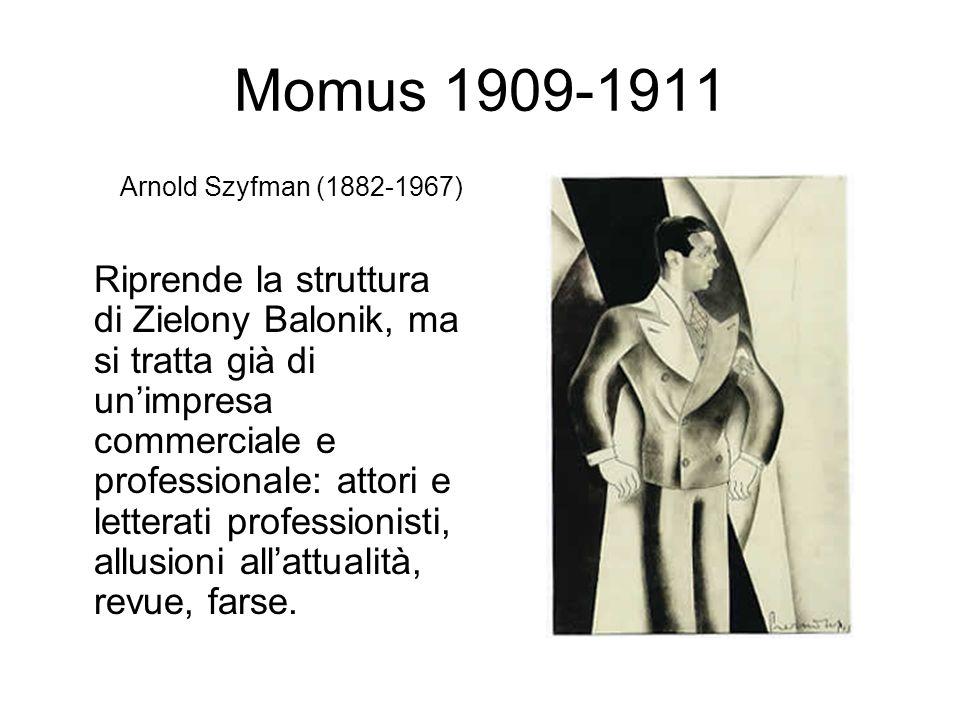 Momus 1909-1911 Arnold Szyfman (1882-1967) Riprende la struttura di Zielony Balonik, ma si tratta già di unimpresa commerciale e professionale: attori e letterati professionisti, allusioni allattualità, revue, farse.