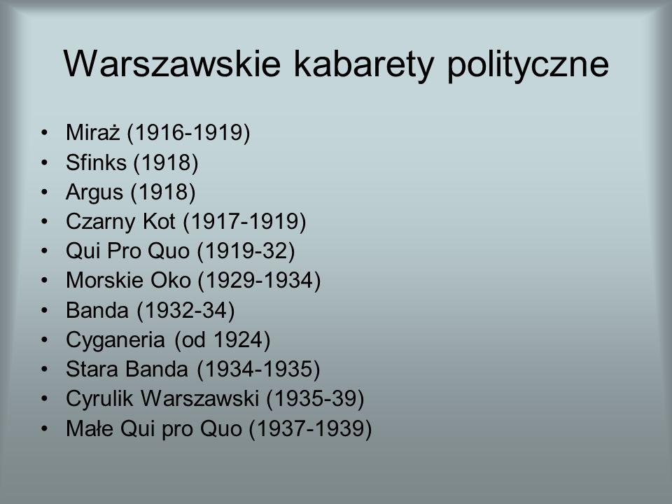 Warszawskie kabarety polityczne Miraż (1916-1919) Sfinks (1918) Argus (1918) Czarny Kot (1917-1919) Qui Pro Quo (1919-32) Morskie Oko (1929-1934) Banda (1932-34) Cyganeria (od 1924) Stara Banda (1934-1935) Cyrulik Warszawski (1935-39) Małe Qui pro Quo (1937-1939)