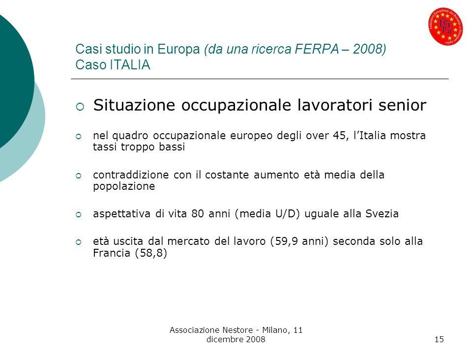 Associazione Nestore - Milano, 11 dicembre 200815 Casi studio in Europa (da una ricerca FERPA – 2008) Caso ITALIA Situazione occupazionale lavoratori