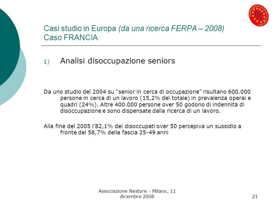 Associazione Nestore - Milano, 11 dicembre 200821 Casi studio in Europa (da una ricerca FERPA – 2008) Caso FRANCIA 1) Analisi disoccupazione seniors D