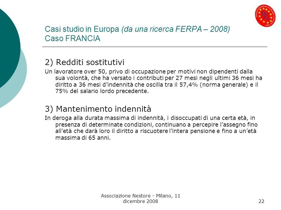 Associazione Nestore - Milano, 11 dicembre 200822 Casi studio in Europa (da una ricerca FERPA – 2008) Caso FRANCIA 2) Redditi sostitutivi Un lavorator