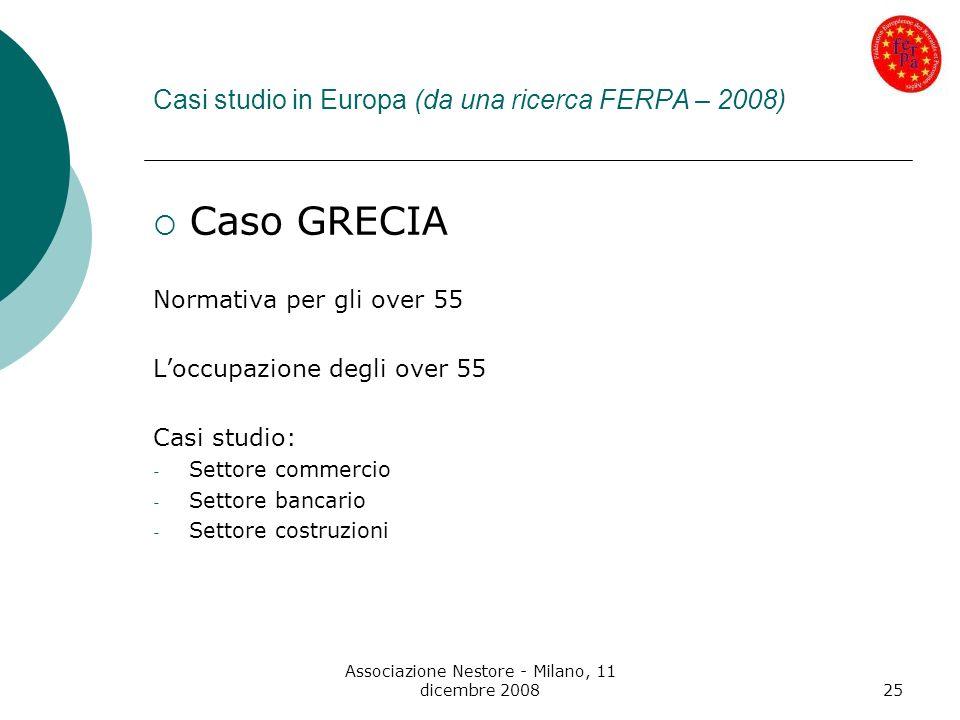Associazione Nestore - Milano, 11 dicembre 200825 Casi studio in Europa (da una ricerca FERPA – 2008) Caso GRECIA Normativa per gli over 55 Loccupazio
