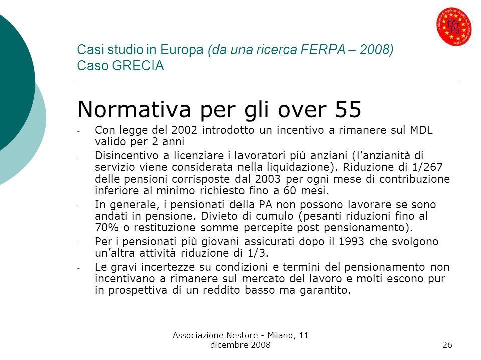 Associazione Nestore - Milano, 11 dicembre 200826 Casi studio in Europa (da una ricerca FERPA – 2008) Caso GRECIA Normativa per gli over 55 - Con legg