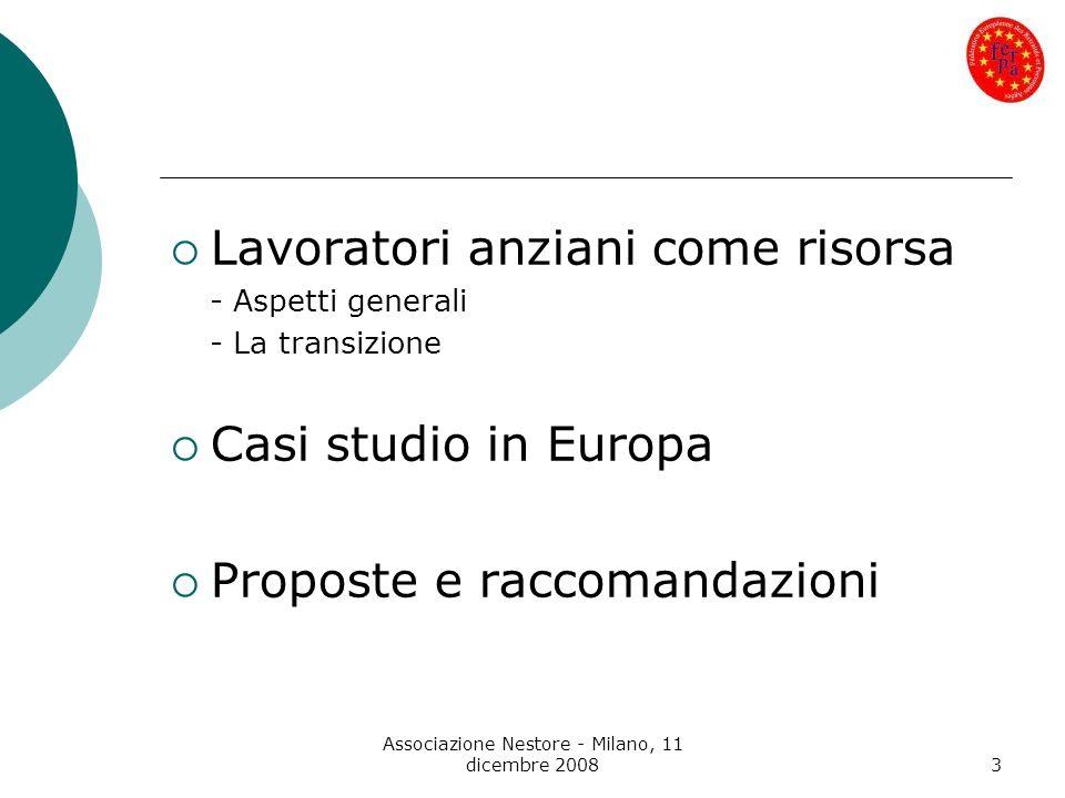 Associazione Nestore - Milano, 11 dicembre 20083 Lavoratori anziani come risorsa - Aspetti generali - La transizione Casi studio in Europa Proposte e