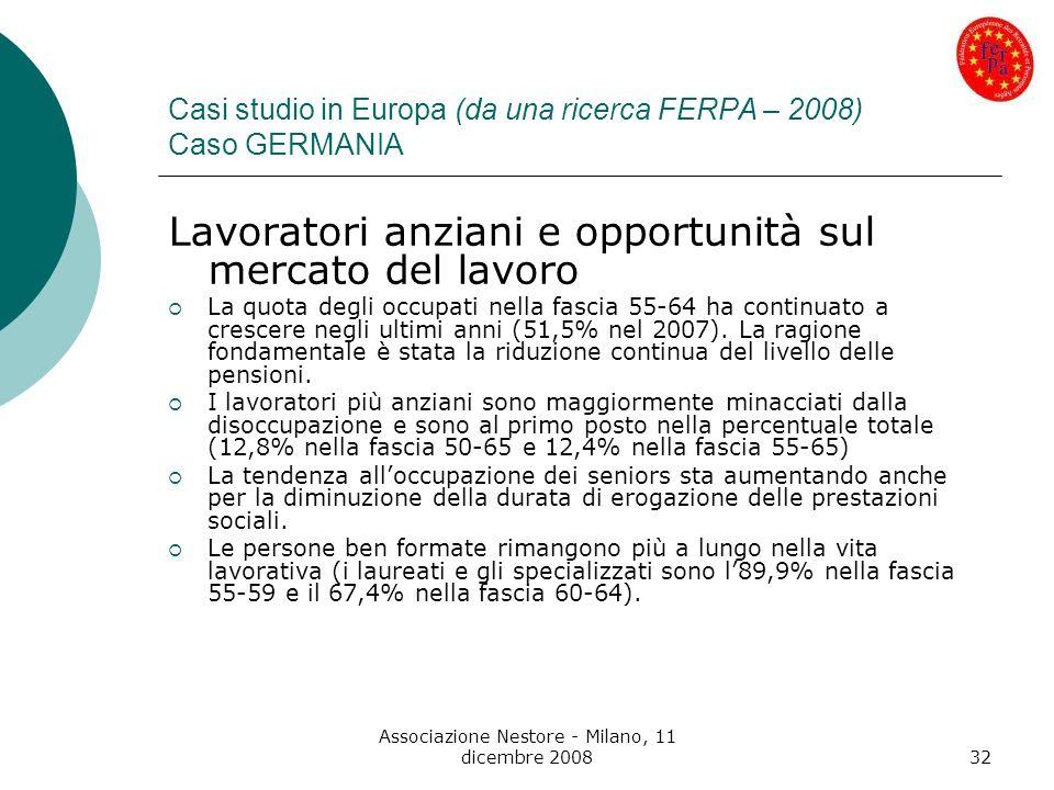 Associazione Nestore - Milano, 11 dicembre 200832 Casi studio in Europa (da una ricerca FERPA – 2008) Caso GERMANIA Lavoratori anziani e opportunità s