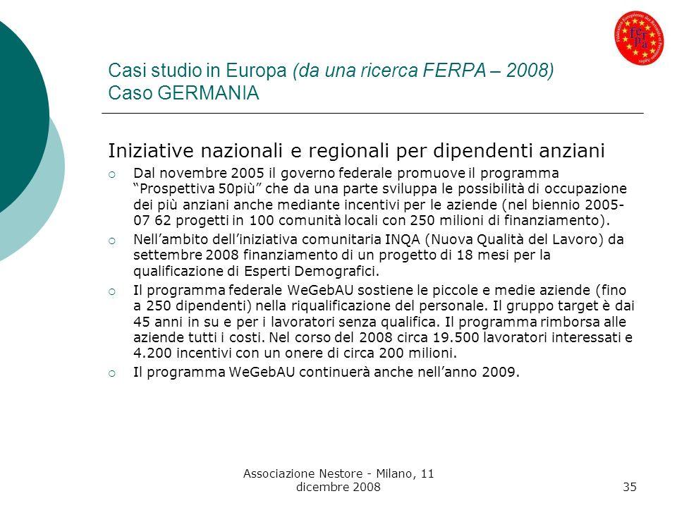 Associazione Nestore - Milano, 11 dicembre 200835 Casi studio in Europa (da una ricerca FERPA – 2008) Caso GERMANIA Iniziative nazionali e regionali p