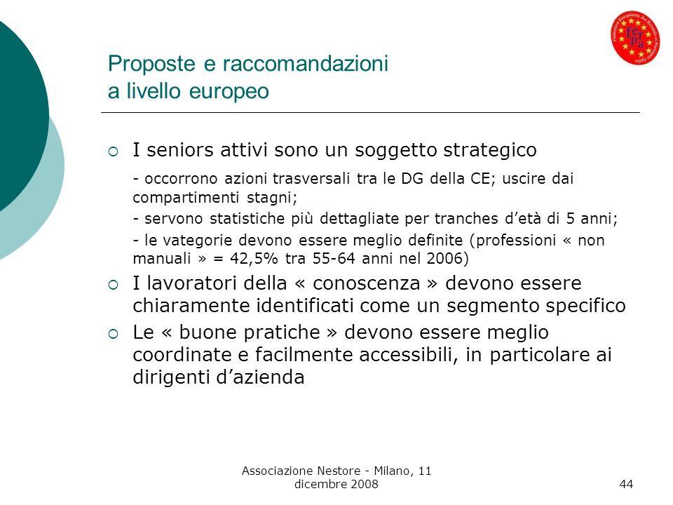 Associazione Nestore - Milano, 11 dicembre 200844 Proposte e raccomandazioni a livello europeo I seniors attivi sono un soggetto strategico - occorron