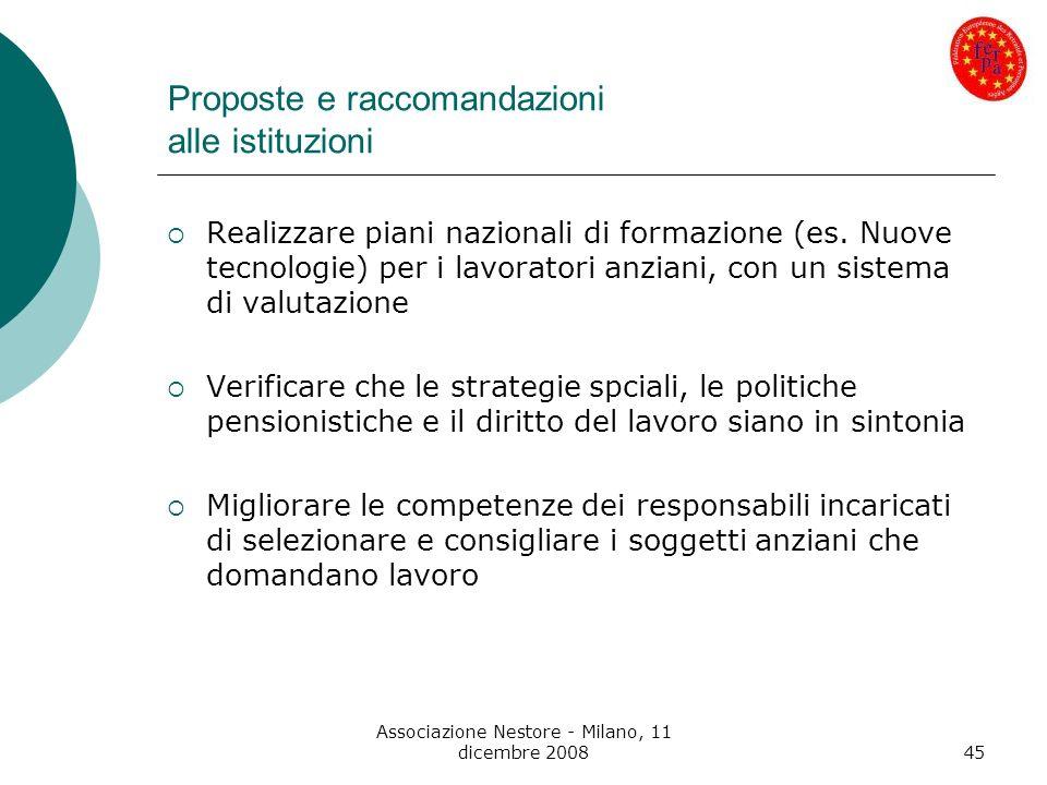 Associazione Nestore - Milano, 11 dicembre 200845 Proposte e raccomandazioni alle istituzioni Realizzare piani nazionali di formazione (es. Nuove tecn