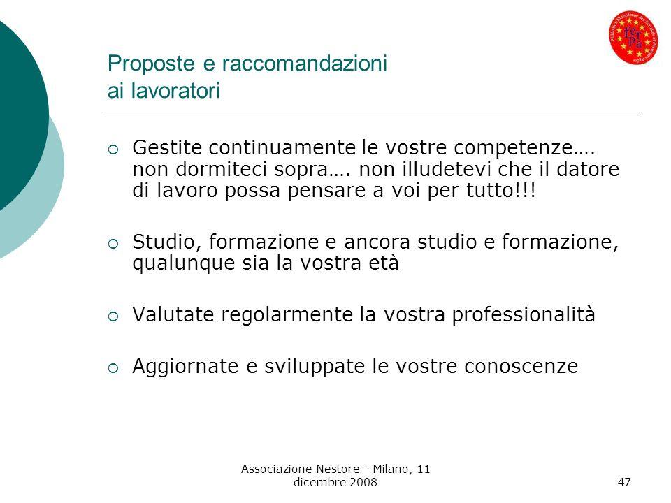Associazione Nestore - Milano, 11 dicembre 200847 Proposte e raccomandazioni ai lavoratori Gestite continuamente le vostre competenze…. non dormiteci