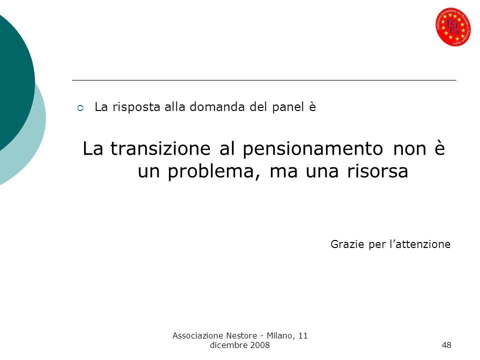Associazione Nestore - Milano, 11 dicembre 200848 La risposta alla domanda del panel è La transizione al pensionamento non è un problema, ma una risor