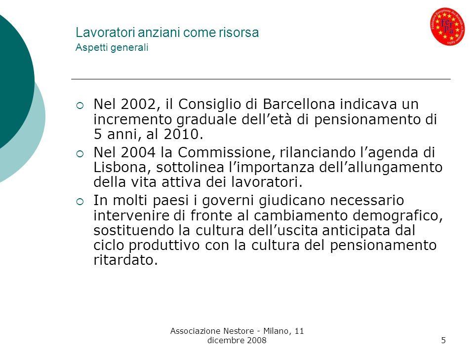 Associazione Nestore - Milano, 11 dicembre 200816 Casi studio in Europa (da una ricerca FERPA – 2008) Caso ITALIA 1) Mercato del lavoro Tasso di attività (forza lavoro/popolazione) nel 2007 pari al 62,5% rispetto al 70,5% dellUE a 27 - il tasso è crescente fino alla classe di età 35-44 (valore massimo medio U/D 80,9%) per decrescere a 33,8 nella fascia 55-64 (uomini 45% - donne 22,5%) Tasso di occupazione (persone occupate/popolazione) - grandi differenze a livello di genere e andamento decrescente al crescere delletà.