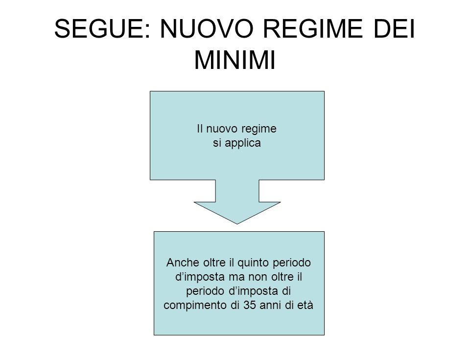 SEGUE: NUOVO REGIME DEI MINIMI Il nuovo regime si applica Anche oltre il quinto periodo dimposta ma non oltre il periodo dimposta di compimento di 35