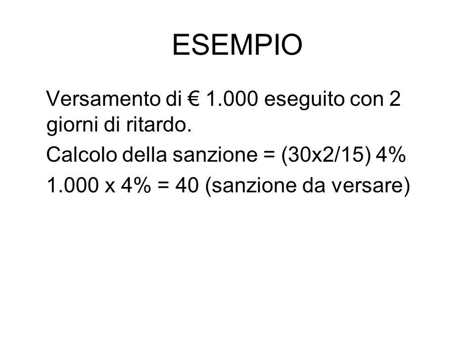 ESEMPIO Versamento di 1.000 eseguito con 2 giorni di ritardo. Calcolo della sanzione = (30x2/15) 4% 1.000 x 4% = 40 (sanzione da versare)