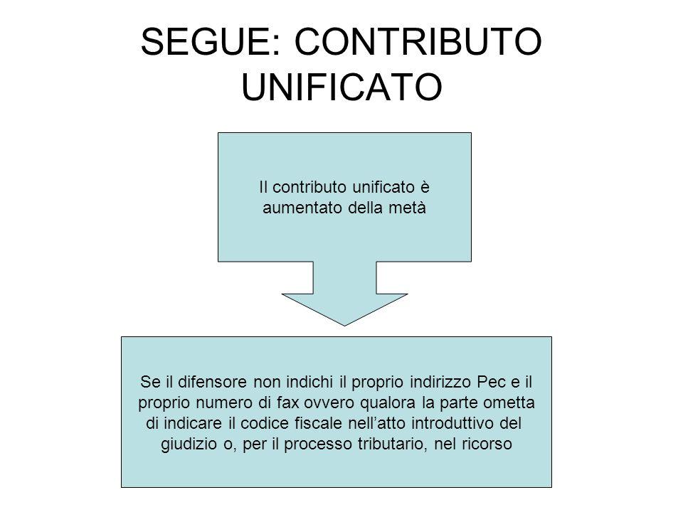 SEGUE: CONTRIBUTO UNIFICATO Il contributo unificato è aumentato della metà Se il difensore non indichi il proprio indirizzo Pec e il proprio numero di