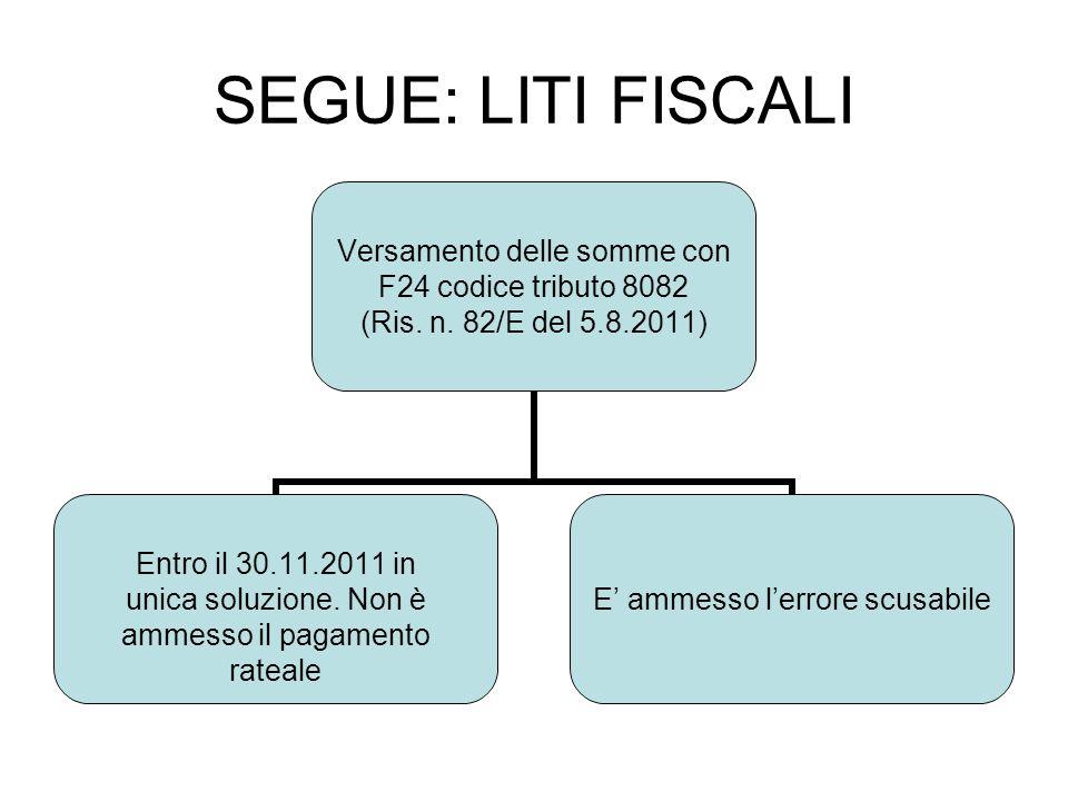 SEGUE: LITI FISCALI Versamento delle somme con F24 codice tributo 8082 (Ris. n. 82/E del 5.8.2011) Entro il 30.11.2011 in unica soluzione. Non è ammes