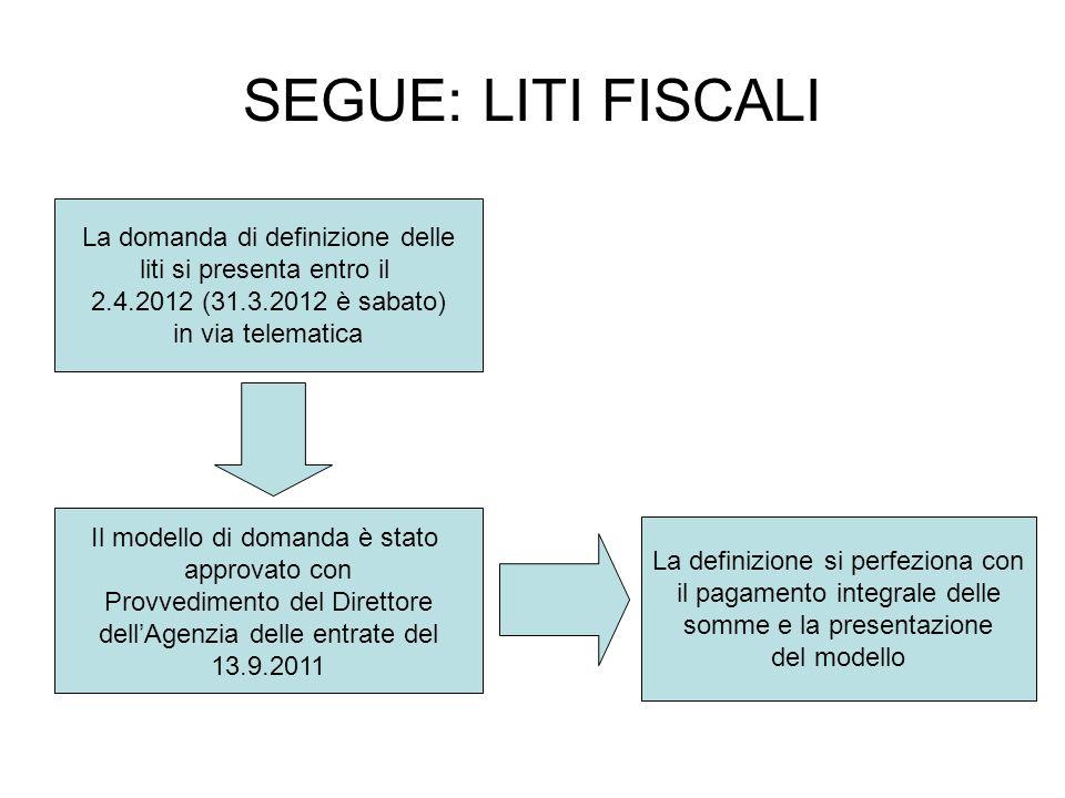 SEGUE: LITI FISCALI La domanda di definizione delle liti si presenta entro il 2.4.2012 (31.3.2012 è sabato) in via telematica Il modello di domanda è