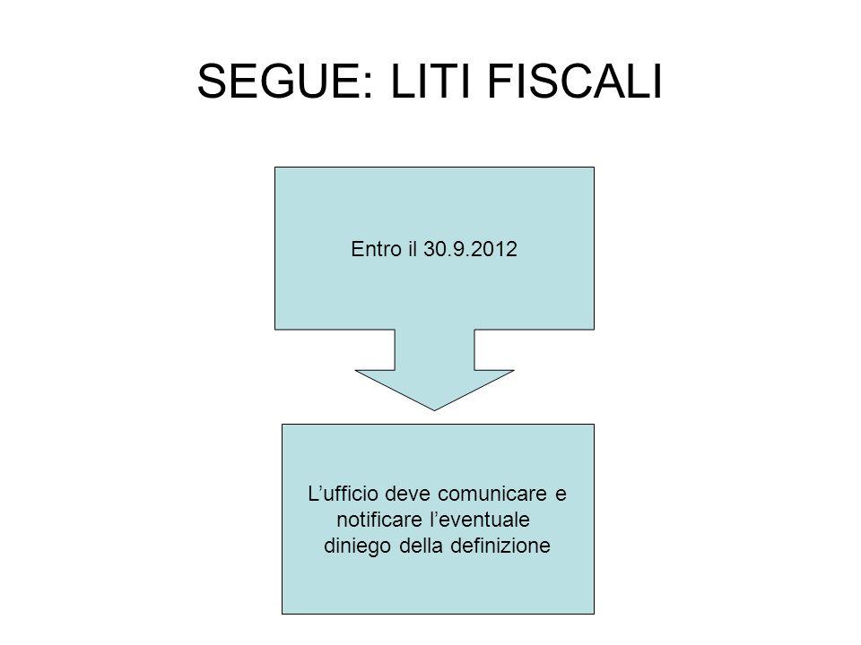 SEGUE: LITI FISCALI Entro il 30.9.2012 Lufficio deve comunicare e notificare leventuale diniego della definizione